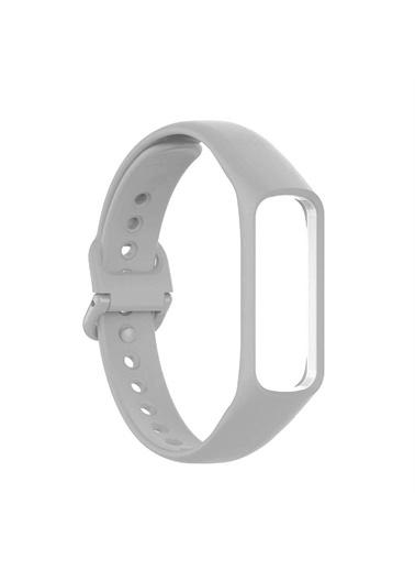 Microsonic Samsung Galaxy Fit 2 Silikon Kordon Beyaz Gri